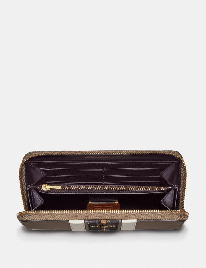 Coach Accordion Zip Wallet With Varsity Stripe Brass/Elm Multi Gifts For Her Bestsellers Alternate View 1