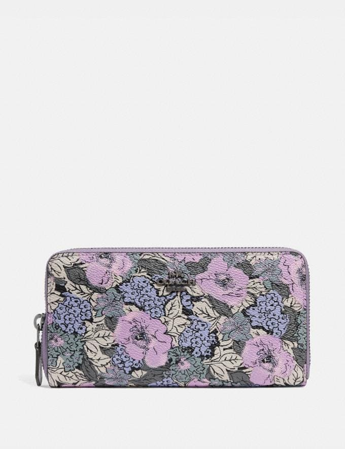 Coach Accordion Zip Wallet With Heritage Floral Print Pewter/Soft Lilac Multi Women Wallets & Wristlets