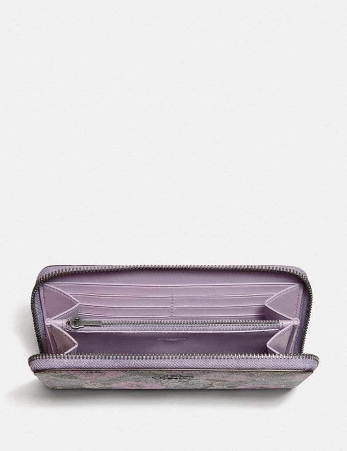 Coach Accordion Zip Wallet With Heritage Floral Print Pewter/Soft Lilac Multi Women Wallets & Wristlets Alternate View 1