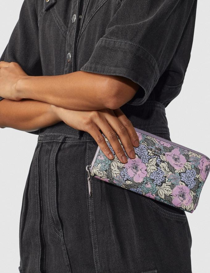 Coach Accordion Zip Wallet With Heritage Floral Print Pewter/Soft Lilac Multi Women Wallets & Wristlets Alternate View 2
