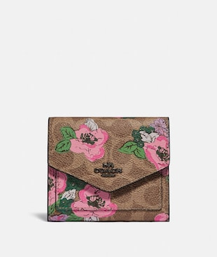 SMALL WALLET IN SIGNATURE CANVAS WITH BLOSSOM PRINT