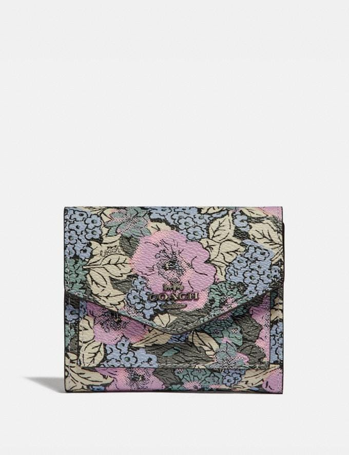 Coach Small Wallet With Heritage Floral Print Pewter/Soft Lilac Multi Gifts For Her Under $100