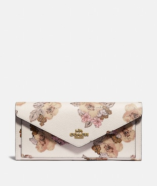 SOFT WALLET WITH FLORAL BOUQUET PRINT