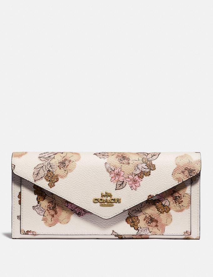 Coach Soft Wallet With Floral Bouquet Print Brass/Chalk New Women's New Arrivals Wallets & Wristlets
