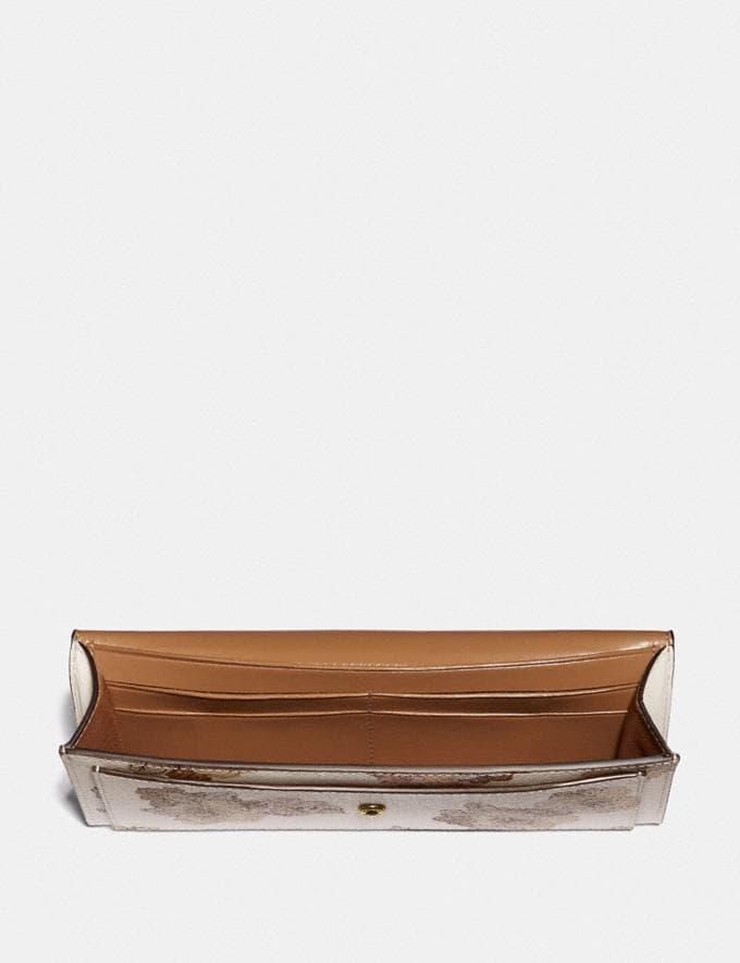 Coach Soft Wallet With Floral Bouquet Print Brass/Chalk Women Wallets & Wristlets Large Wallets Alternate View 1