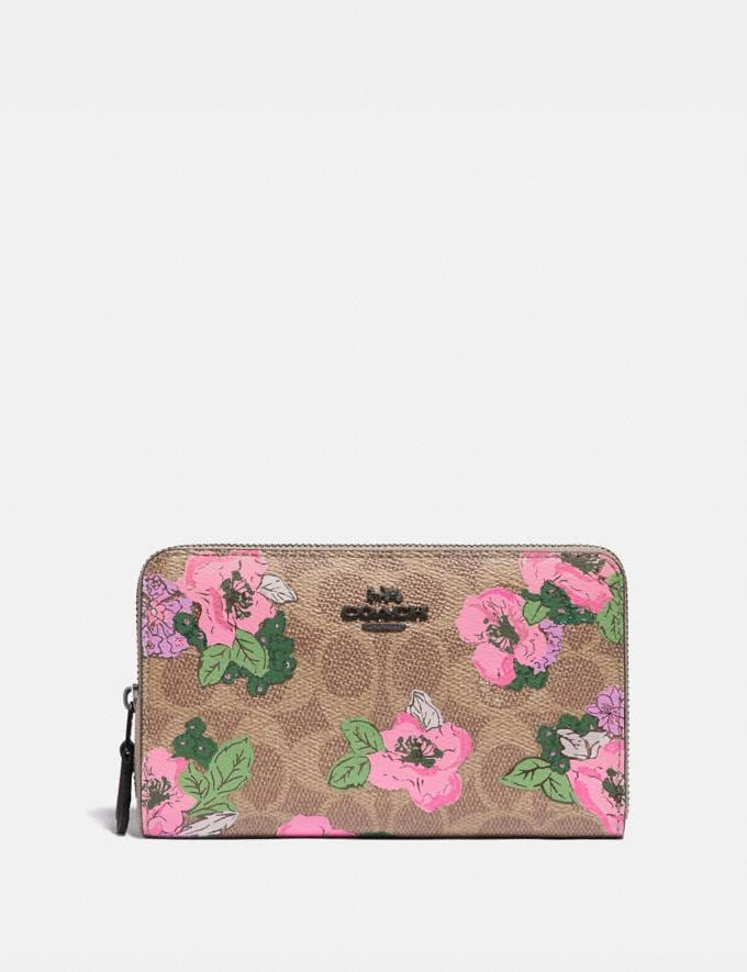 Coach Medium Zip Around Wallet in Signature Canvas With Blossom Print Pewter/Tan Print Women Wallets & Wristlets Large Wallets