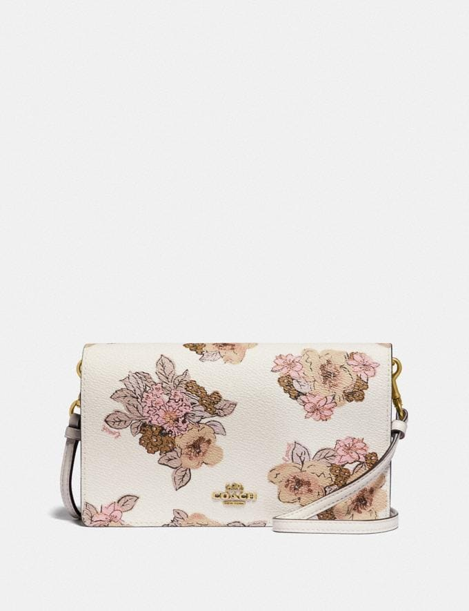 Coach Hayden Foldover Crossbody Clutch With Floral Bouquet Print Brass/Chalk Gifts For Her