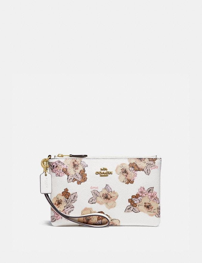 Coach Small Wristlet With Floral Bouquet Print Brass/Chalk Gifts For Her Under $100