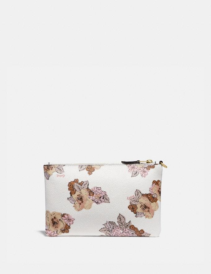 Coach Small Wristlet With Floral Bouquet Print Brass/Chalk Gifts For Her Under $100 Alternate View 1