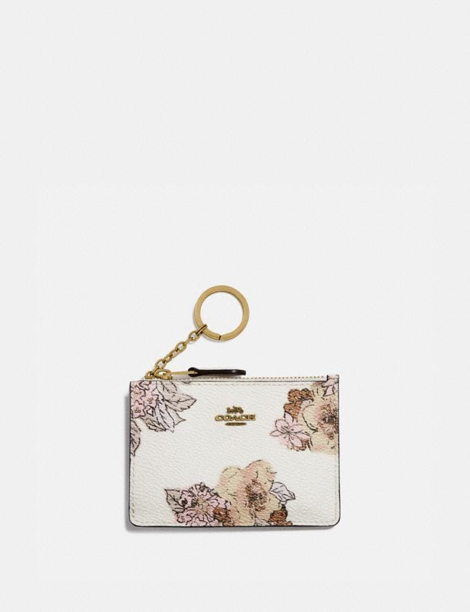 Coach Mini Skinny Id Case With Floral Bouquet Print Brass/Chalk Gifts For Her Bestsellers