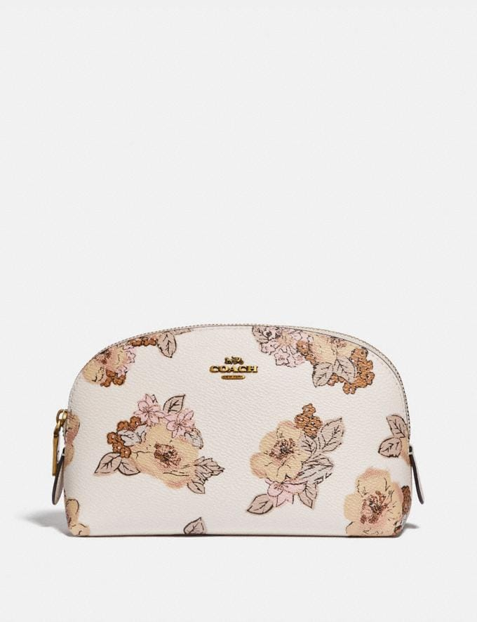 Coach Cosmetic Case 17 With Floral Bouquet Print Brass/Chalk New Women's New Arrivals Accessories