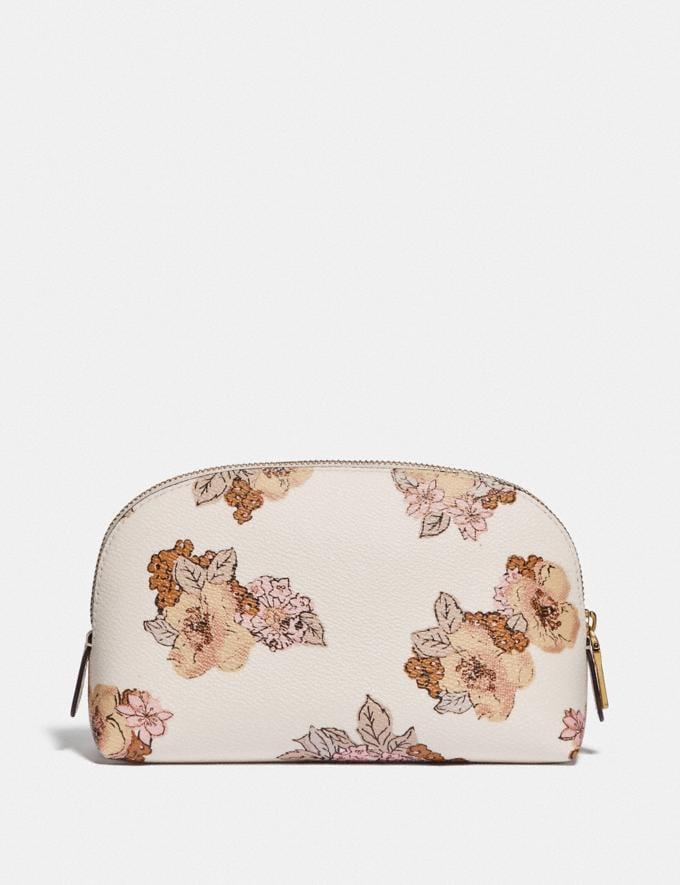 Coach Cosmetic Case 17 With Floral Bouquet Print Brass/Chalk Women Accessories Cosmetic Cases Alternate View 1