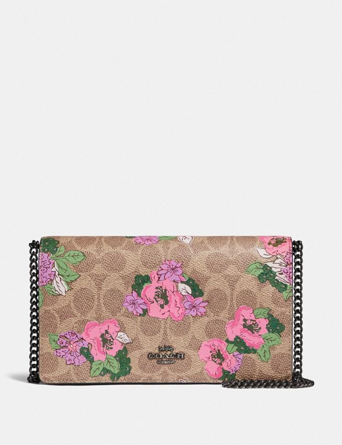 Coach Callie Foldover Chain Clutch in Signature Canvas With Blossom Print Pewter/Tan Sand Print Women Handbags Crossbody Bags