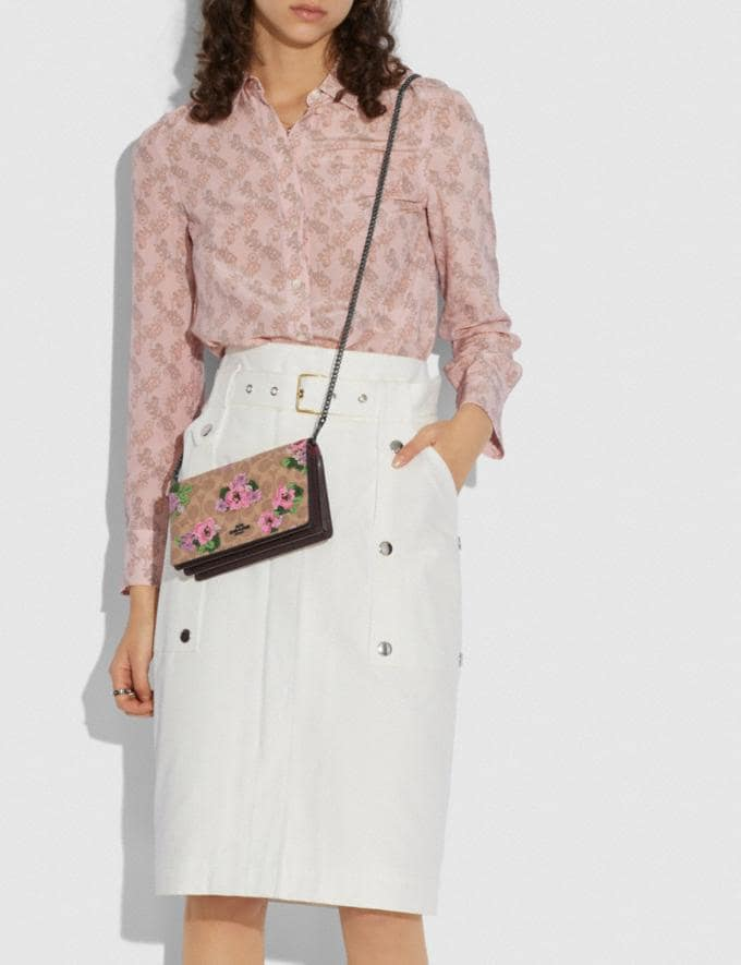 Coach Callie Foldover Chain Clutch in Signature Canvas With Blossom Print Pewter/Tan Sand Print  Alternate View 3