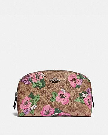 cosmetic case 17 in signature canvas with blossom print