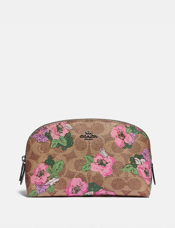 Coach Cosmetic Case 17 in Signature Canvas With Blossom Print Pewter/Tan Print Women Accessories Cosmetic Cases