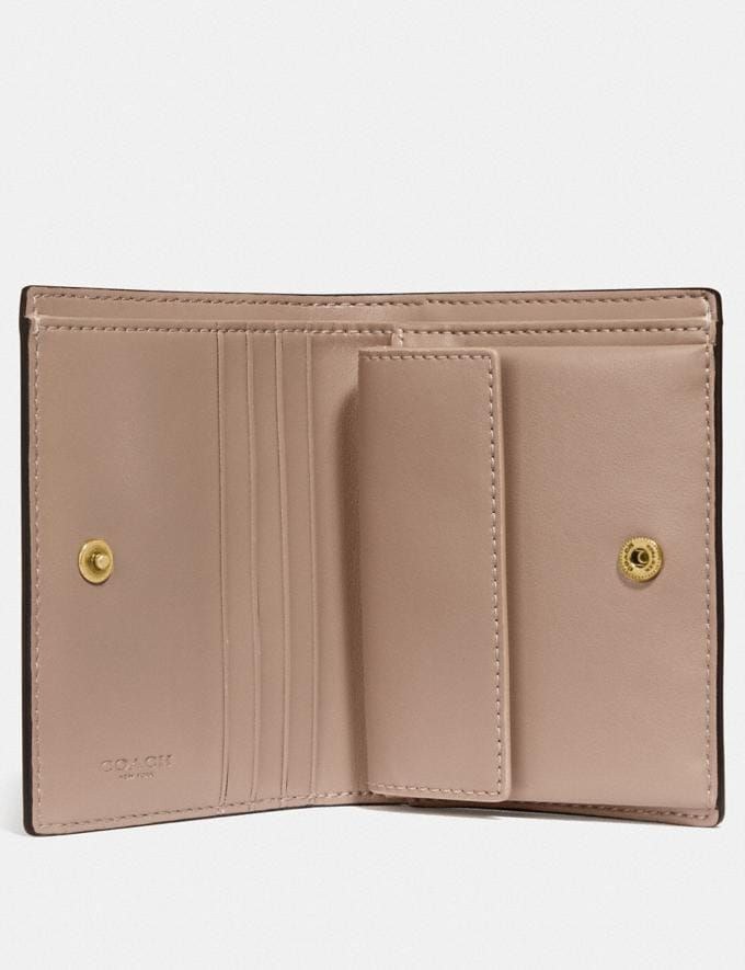 Coach Small Snap Wallet Brass/Taupe Women Small Leather Goods Small Wallets Alternate View 1