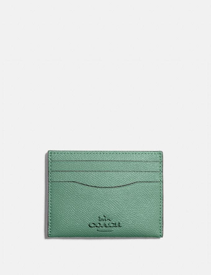 Coach Card Case B4/Washed Green Women Small Leather Goods