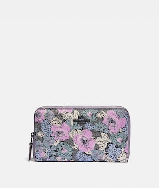 MEDIUM ZIP AROUND WALLET WITH HERITAGE FLORAL PRINT