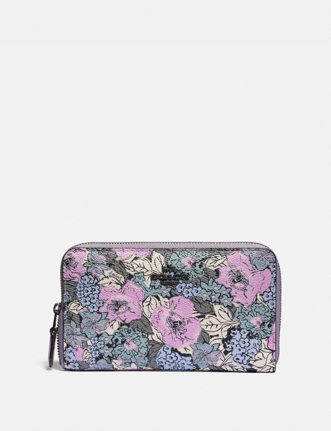 Coach Medium Zip Around Wallet With Heritage Floral Print Pewter/Soft Lilac Multi Women Wallets & Wristlets Large Wallets