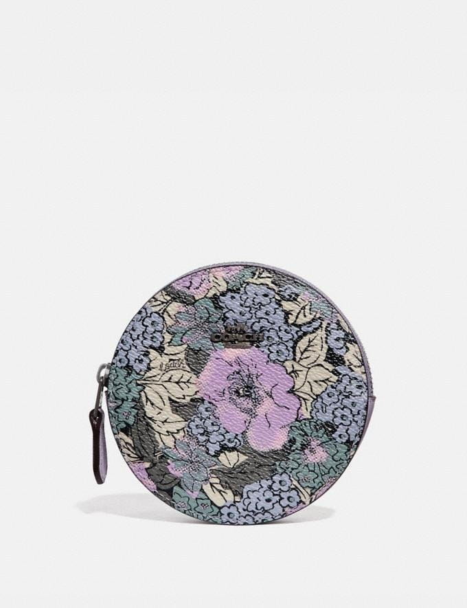 Coach Round Coin Case With Heritage Floral Print Pewter/Soft Lilac Multi New Women's New Arrivals Wallets & Wristlets