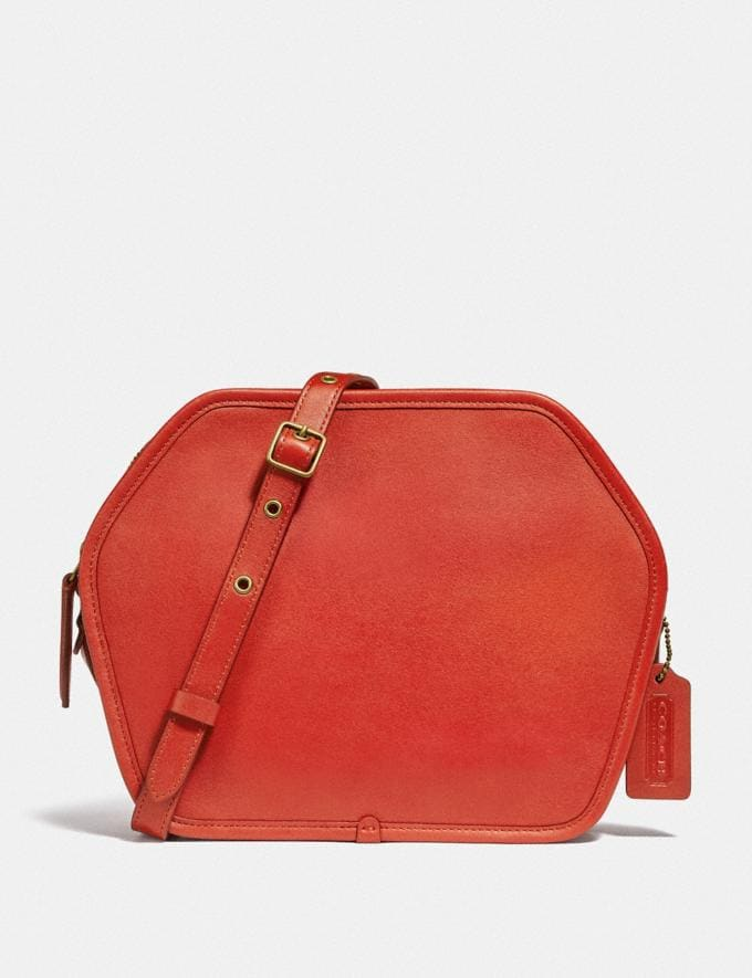 Coach Buy Now Zip Geometric Pouch Carmine/Brass New Featured Spring 2020 Exclusives