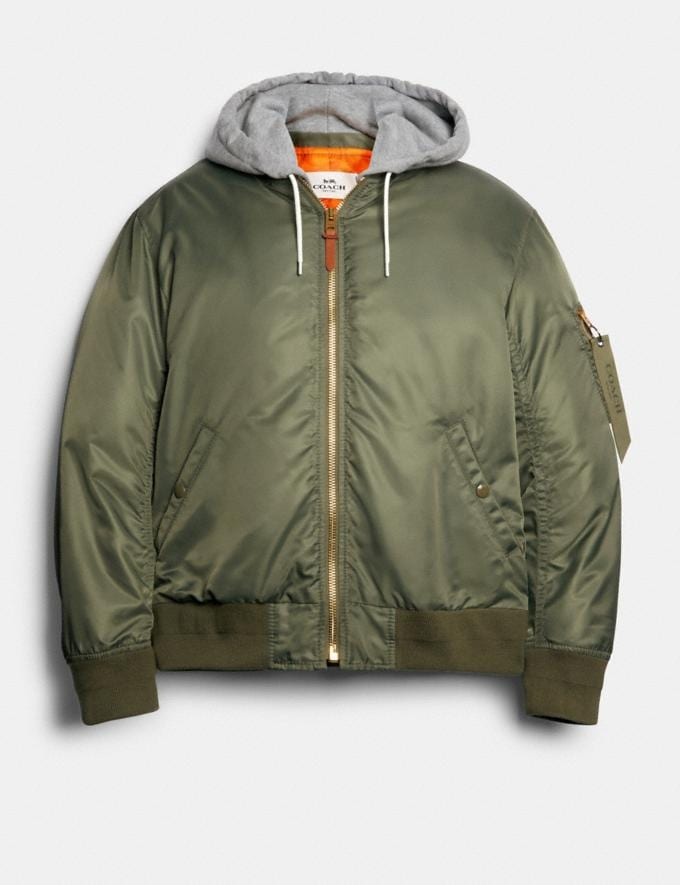 Coach Nylon Hooded Ma-1 Jacket Fatigue