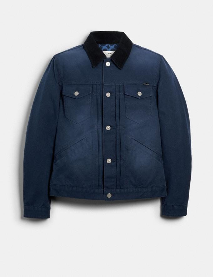 Coach Washed Duck Trucker Jacket Dusk