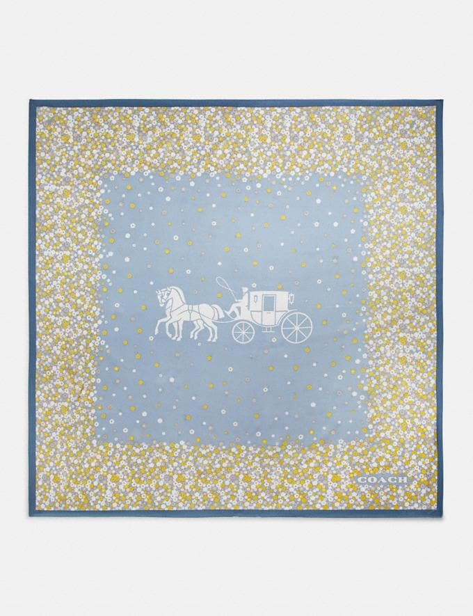 Coach Horse and Carriage Tea Rose Print Silk Square Scarf Denim Gifts For Her Under $100