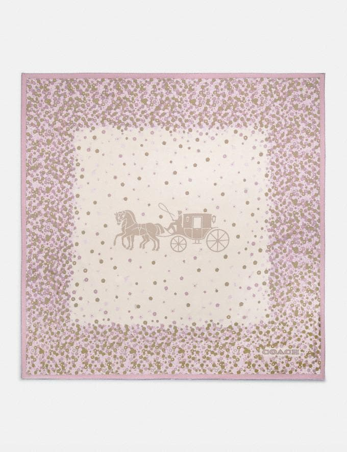 Coach Horse and Carriage Tea Rose Print Silk Square Scarf Aurora Women Accessories Scarves and Gloves