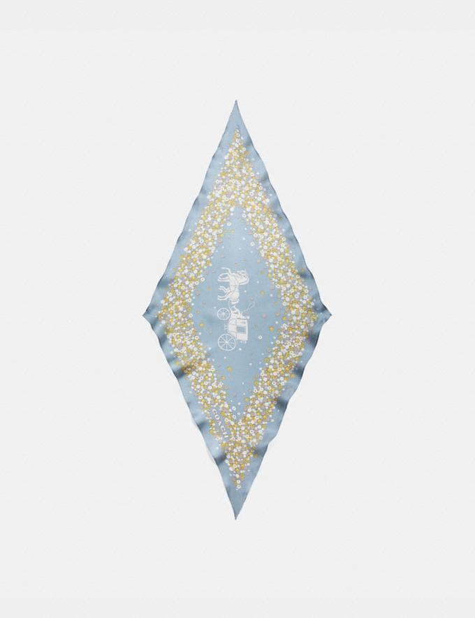 Coach Horse and Carriage Tea Rose Print Silk Diamond Scarf Denim Women Accessories Scarves