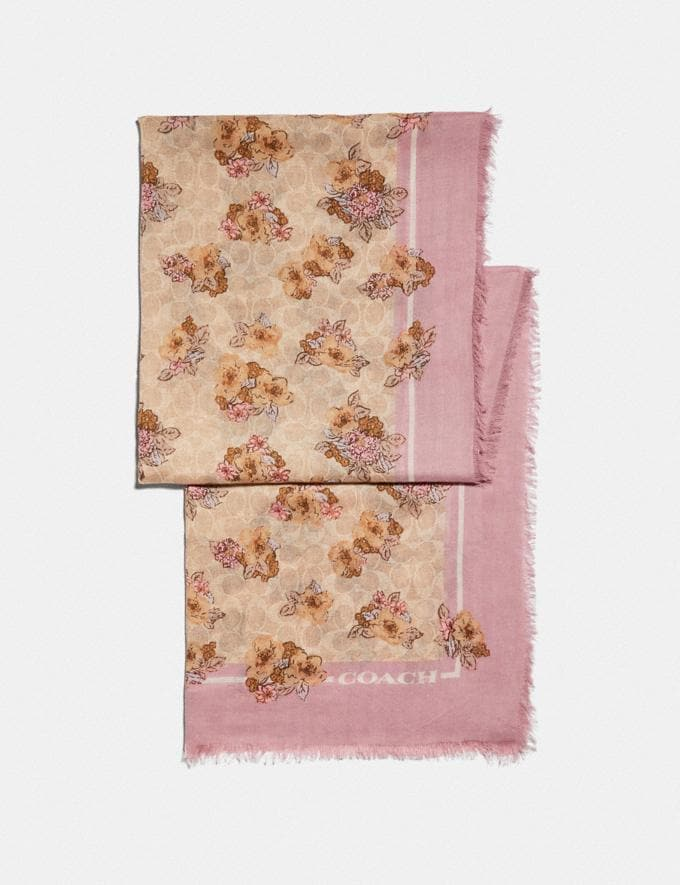 Coach Signature Nostalgic Blossom Print Oblong Scarf Sand/Aurora Women Accessories Scarves & Gloves