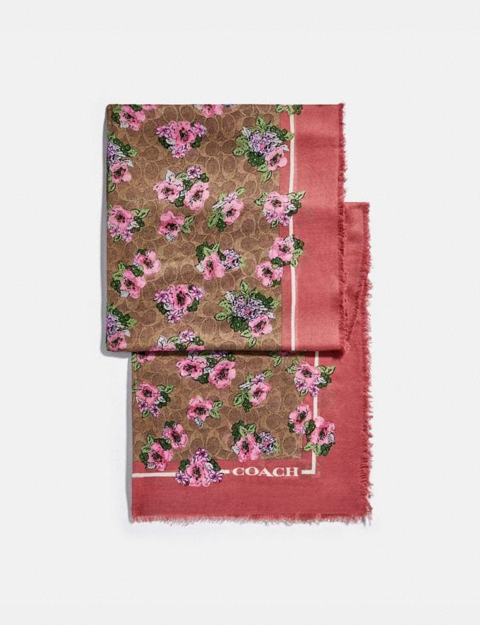 Coach Signature Nostalgic Blossom Print Oblong Scarf Tan/Orchid Women Accessories Hats Scarves and Gloves