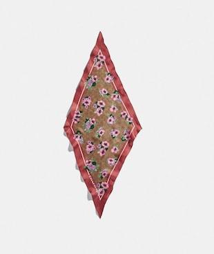 SIGNATURE NOSTALGIC BLOSSOM PRINT SILK DIAMOND SCARF