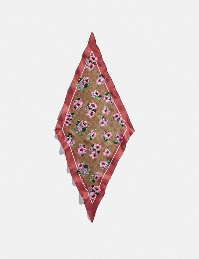 Coach Signature Nostalgic Blossom Print Silk Diamond Scarf Tan/Orchid Women Accessories Scarves and Gloves