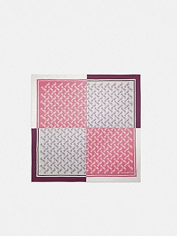 diagonal horse and carriage checker print silk square scarf