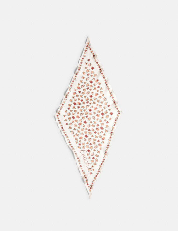 Coach Essential Tea Rose Silk Diamond Scarf Chalk