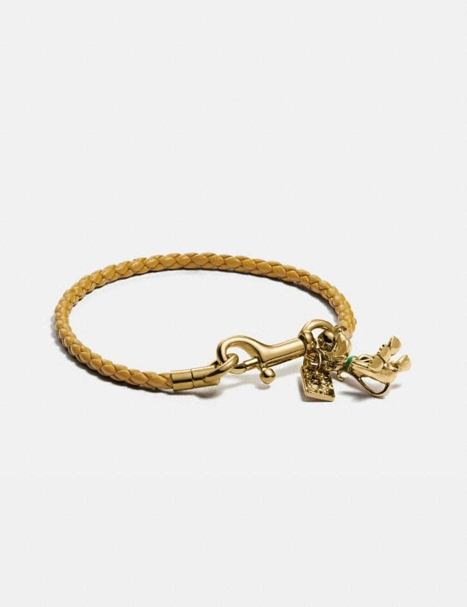 Coach Disney X Coach Braided Friendship Bracelet With Pluto Charm Gold Women Accessories Jewelry & Watches