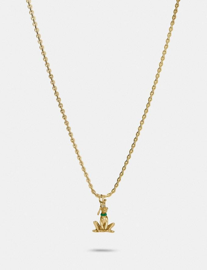 Coach Disney X Coach Pluto Necklace Gold Women Accessories Jewelry & Watches