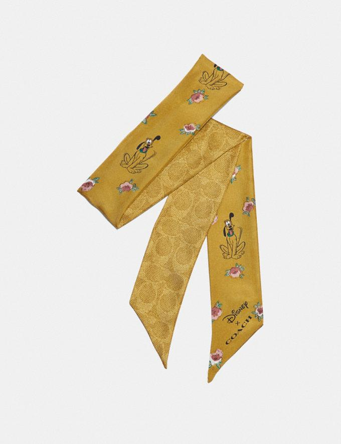 Coach Disney X Coach Signature Pluto Print Silk Skinny Scarf Flax Women Accessories Scarves