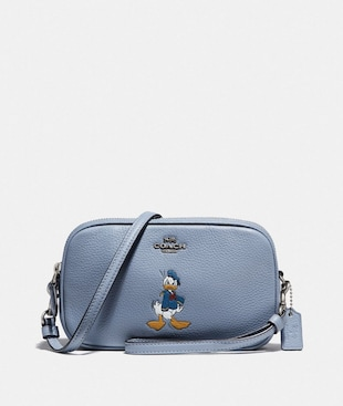 DISNEY X COACH SADIE CROSSBODY CLUTCH WITH DONALD DUCK MOTIF