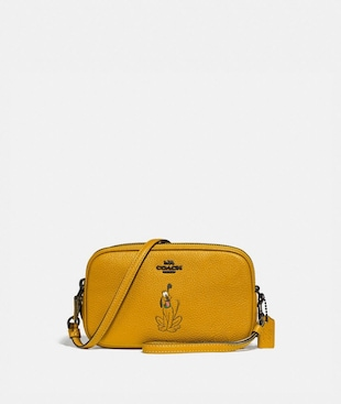 DISNEY X COACH SADIE CROSSBODY CLUTCH WITH PLUTO MOTIF