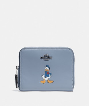 DISNEY X COACH SMALL ZIP AROUND WALLET WITH DONALD DUCK MOTIF