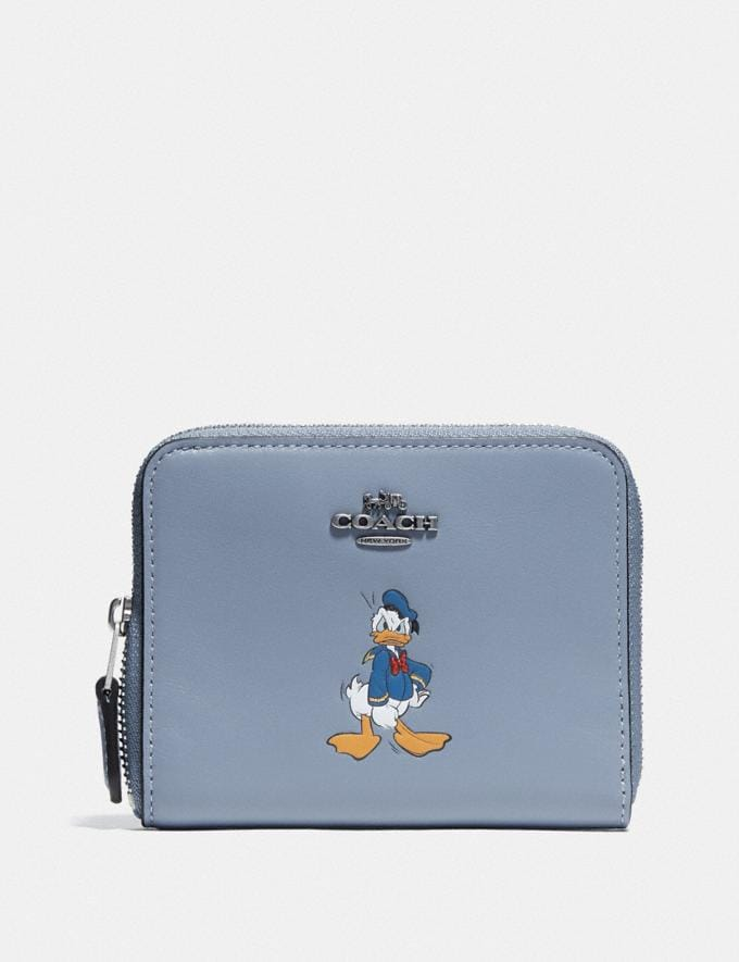 Coach Disney X Coach Small Zip Around Wallet With Donald Duck Motif Light Nickel/Bluebell New Featured Disney X Coach