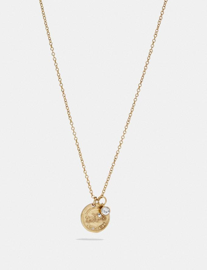 Coach Horse and Carriage Single Coin Necklace Gold Gifts For Her Under $100
