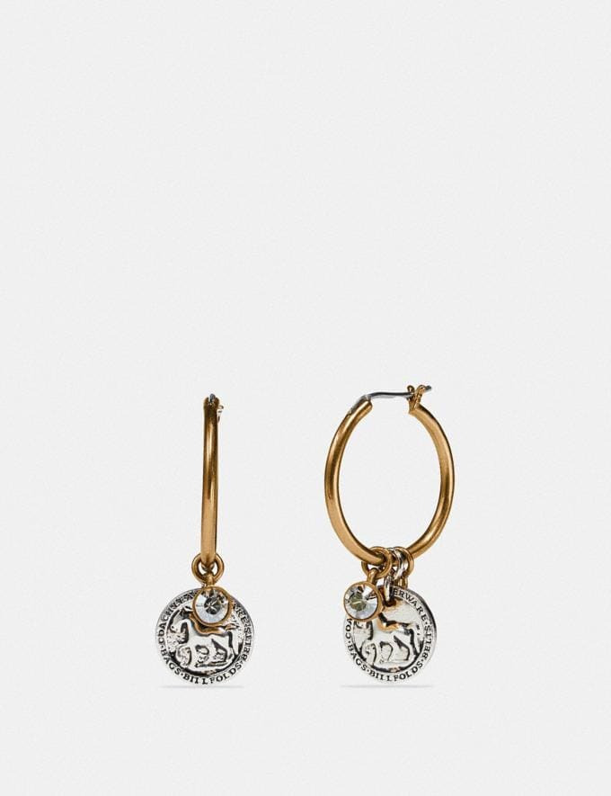 Coach Horse and Carriage Coin Hoop Earrings Gold/Silver Women Edits Work