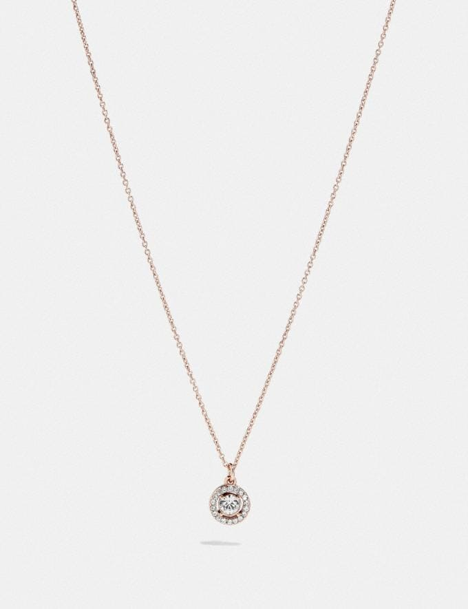 Coach Halo Pave Stud Necklace Gold/Clear New Women's New Arrivals Accessories