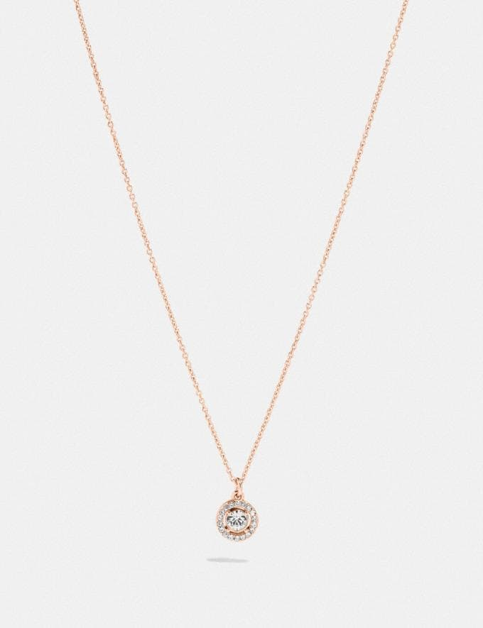 Coach Pave Ring Stud Necklace Rose Gold/Clear Women Accessories Jewelry & Watches