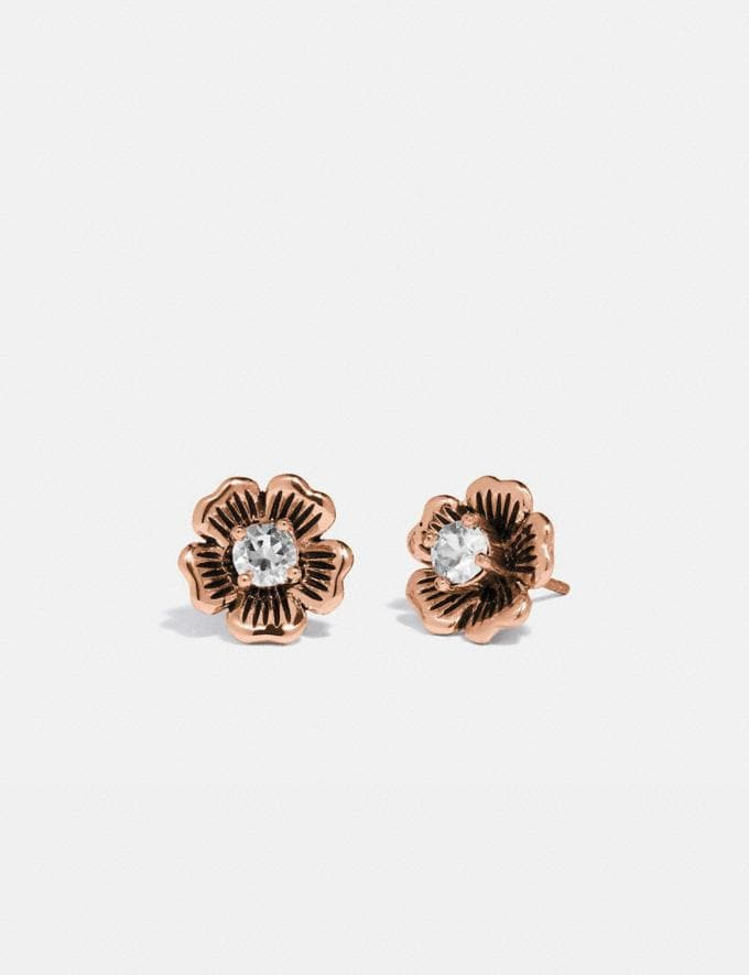 Coach Mini Tea Rose 2-In-1 Stud Earrings Rose Gold Women Accessories Jewelry & Watches