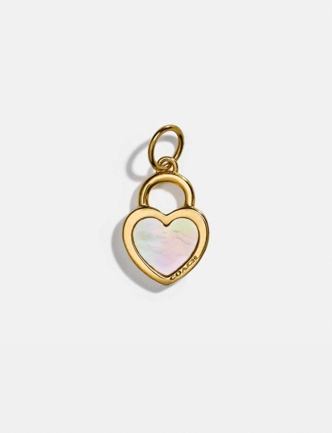 Coach Collectible Pearl Heart Charm Gold/Multicolor Women Accessories Jewelry & Watches